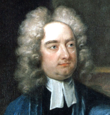 Head portrait of Irish satirist and author Jonathan Swift, best known as the author of Gulliver's Travels.