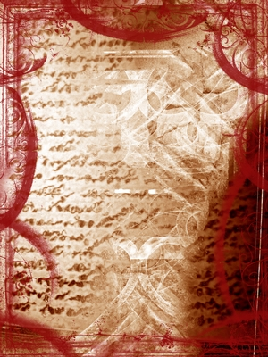 Image of sepia-toned, handwritten words in a grungy collage with red and brown smeared colours.