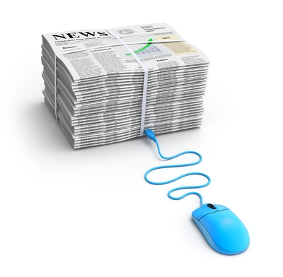A tied bundle of black-and-white newspapers with a bright blue computer mouse seemingly plugged into the stack, signifying a relationship between print and digital news.