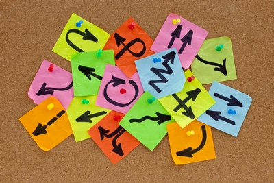 A colourful mess of sticky notes, with squiggly arrows in all directions, on a bulletin board.