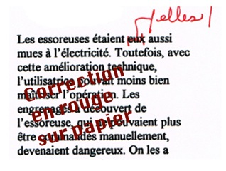 Correction en rouge sure papier