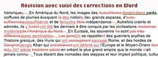 revision en Word avec suivi des corrections