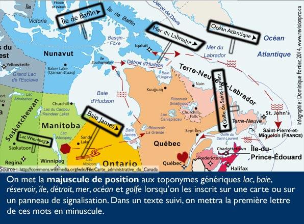 majuscule-position-carte-revision-dominique-fortier-french-editor. Panneaux de signalisation sur carte géographique du Canada et noms de lieux génériques et spécifique