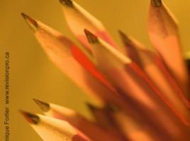 faux-amis-crayons_false-fake-friends-pencils. Image illustrant le concept des faux amis. Crayons jaune orange qui deviennent de plus en plus rouge dans l'ombre. Réalisation par Dominique Fortier. Illustration of the false friends, or fake friends concept. Orange pencil showing a darker/less known/red face. Realisation by Dominique Fortier, French editor.