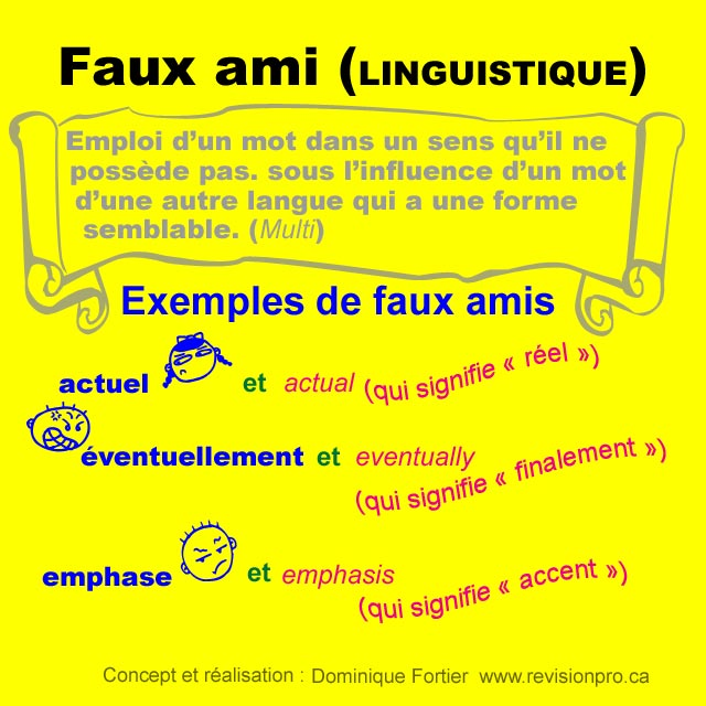 faux-amis-exemples_false-friends-examples. Concept et réalisation - Concept and realization - Dominique Fortier. Réviseure - French Editor.