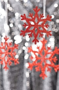 Red snowflake ornaments