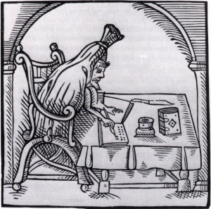 Woodcut of 16th-century English writer, Robert Greene