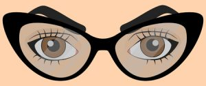 Brown human eyes in cartoon style with glasses