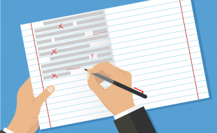 Illustration of hands over an open lined notebook, correcting text errors with a red pen.