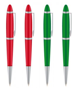 two red pens and two green pens