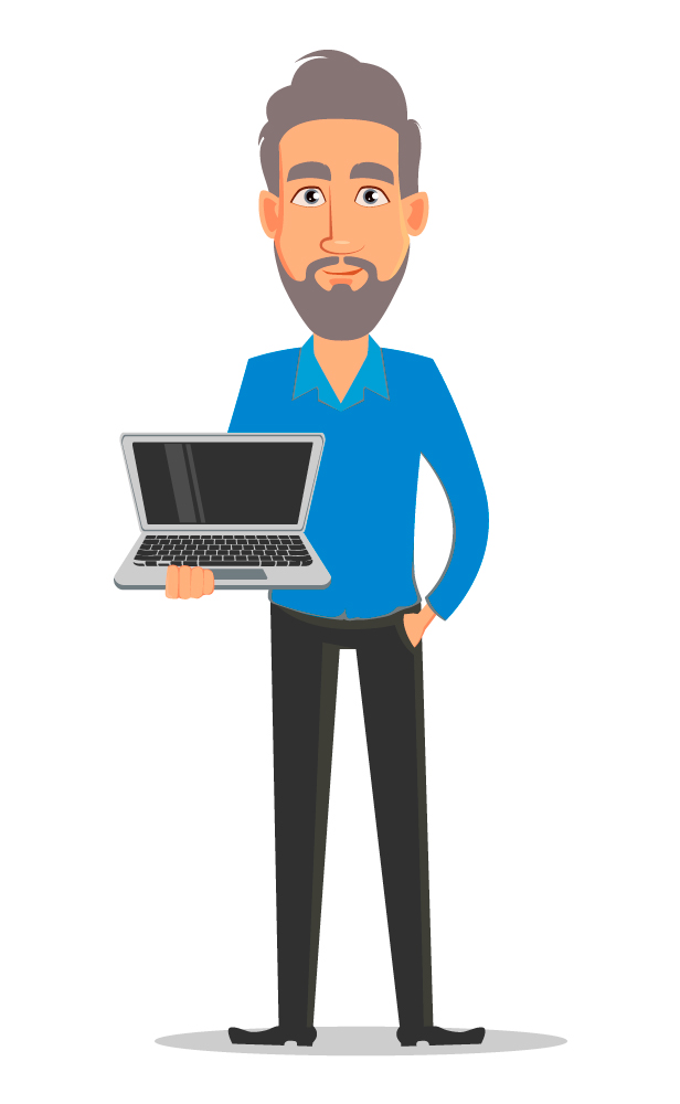 cartoon image of an aging male editor holding a laptop computer