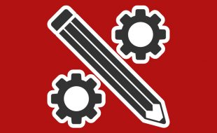 icon showing a pencil between two gears to represent engineering in-house editing