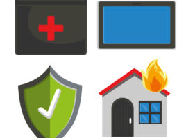 Insurance icons for business, cyber, health and home