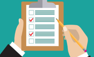 Editorial checklist. Hand holding clipboard with checklist and pencil. to-do list and planning project with office supplies. flat icon modern design style vector illustration concept.