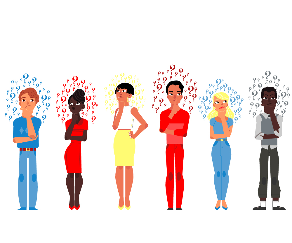 Six people of varying ethnicities and genders thinking (expressed by question marks surrounding each of their heads).