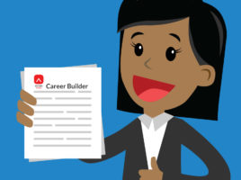 "Cartoon image of a woman of colour in professional attire holding a pile of papers with ""Career Builder"" and the Editors Canada logo on the top of the first page."