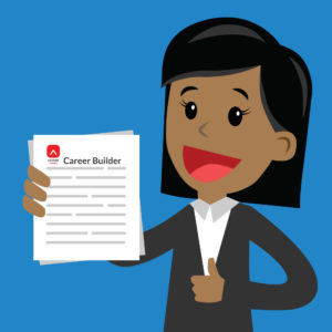 """Cartoon image of a woman of colour in professional attire holding a pile of papers with """"Career Builder"""" and the Editors Canada logo on the top of the first page."""