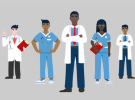 Illustration of 7 diverse medical professionals standing in a V-formation on a grey background.