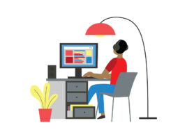 Illustration of person with headphones, their back to us, working at a desk with a desktop computer. There's an arc floor lamp to their right and a potted plant on the ground to their left.