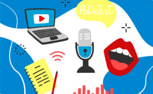 Illustration of various objects (laptop, microphone, notebook and pen, a pair of bright red lips) representing audio content, on a blue wavy background.