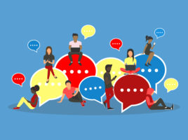 Illustration of diverse young people sitting on various large colourful speech bubbles.