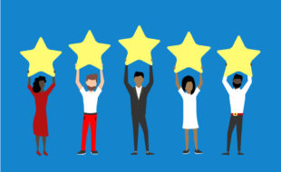 Illustration of five people (diverse genders and ethnicities) each holding a large gold star on a blue background.