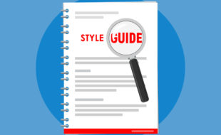 "Magnifying glass magnifies the words ""Style Guide"" on the cover of a spiral-bound document. Illustration on a blue background."