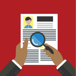 Illustration of two hands holding a one-page CV or job applicant profile. One hand holds a magnifying glass over the CV.