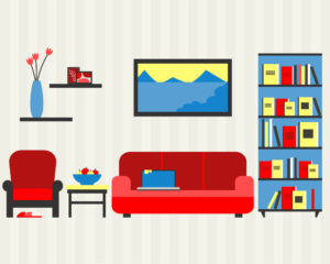 Colourful illustration of a living room with a couch with a laptop on it, an armchair, bookcase, side table, painting, and vase with flowers.