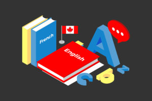 "Illustration of books, one with ""French"" written on the cover, the other with ""English"" written on the cover. Books are next to small Canadian flag and a big letter A. Small letters (c, b, z) scattered next to books."