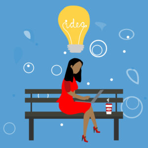 "Illustration of image sitting on park bench with laptop and coffee, and big yellow lightbulb above her head with the word ""Idea"" in it."