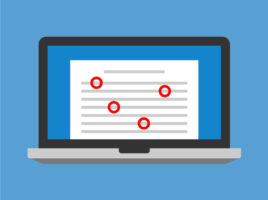 Illustration of laptop screen with document with red circle correction marks.