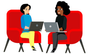 Illustration of two women working together, each with a laptop on her lap sitting on red armchairs facing each other.