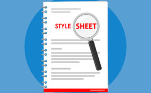 """Illustration of coil-bound pages with the words """"Style Sheet"""" on the cover magnified by a magnifying glass. Image on blue background."""