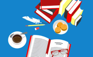 Illustration of an open book with glasses on it next to a plate of cookies, a cup of coffee, and piles of books