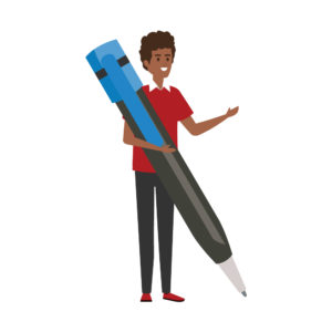 Illustration of young man holding a huge life-sized pen.