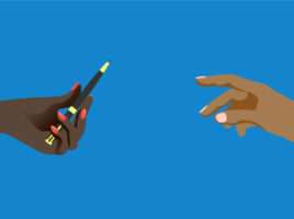 Illustration of two hands, one passing a pen to the other.