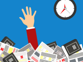 Illustration of hand reaching up from piles of paper. Clock in background.