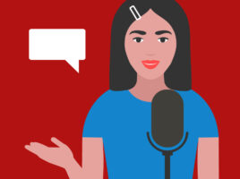 Illustration of woman standing behind a microphone with a blank speech bubble beside her head.
