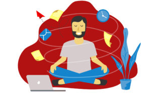 Illustration of man, eyes closed, sitting cross-legged, zen-like, in front of a laptop, while papers fly around him.