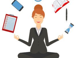 Image of woman in business attire sitting cross-legged as if in meditation. A to-do list, smartphone, clock, notebook, pen, and hourglass hover above her