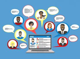 Illustration of a social media profile on a laptop, surrounded by speech bubbles representing users and messages