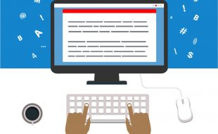 Illustration of a person typing. A text-based document is on the screen, and letters, numbers and symbols float outside the monitor.