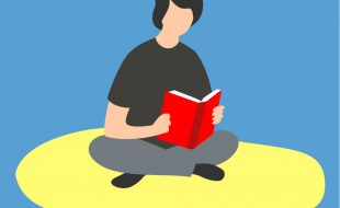 Illustration of a person sitting cross-legged and reading a book