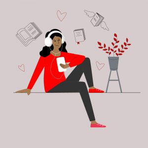 Illustration of a happy woman wearing headphones and listening to an audiobook