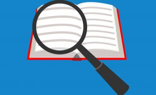 Illustration of a magnifying glass over an open book (pandavector © 123RF.com)