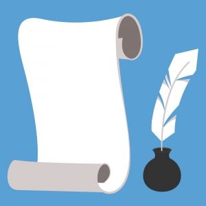Illustration of a blank scroll of parchment beside a quill in an inkpot. (magicleaf © 123RF.com)