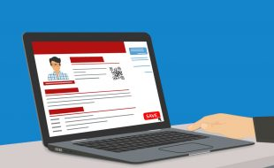 Illustration of a laptop displaying a generic resume or social media profile with a headshot and indications of text headings and body text. (juliatim © 123RF.com)