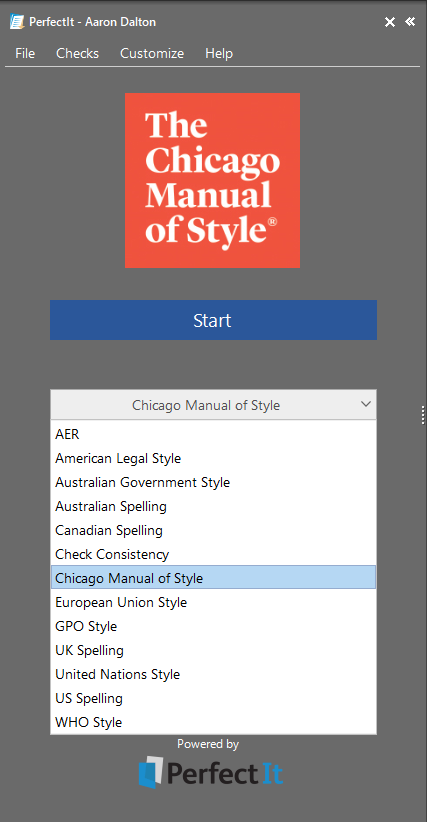 Screenshot of style guide drop-down list in PerfectIt, with The Chicago Manual of Style selected.