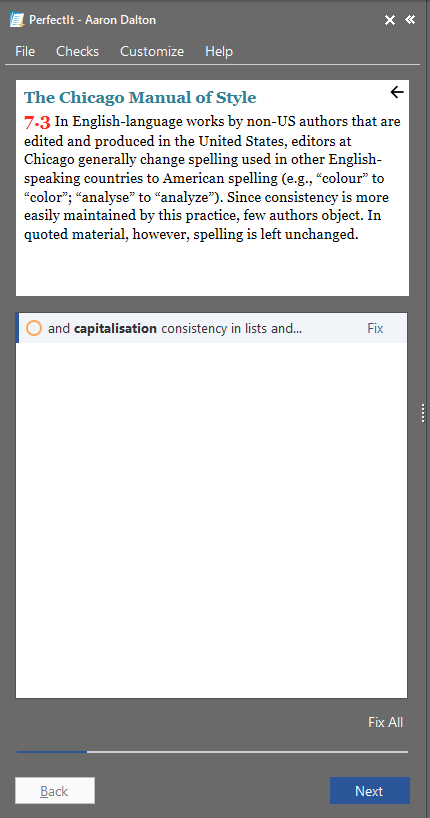 Screenshot from PerfectIt showing an integrated reference to The Chicago Manual of Style section 7.3.